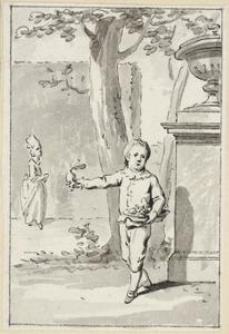 Illustratie voor 'De edelmoedige wedervergelding' in de Kleine gedichten voor kinderen door H. van Alphen