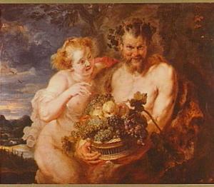 Sater en nimf met vruchtenmand