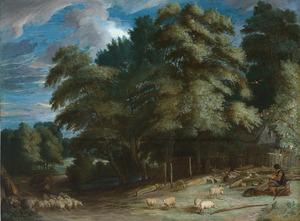 Boslandschap met herder en zijn kudde