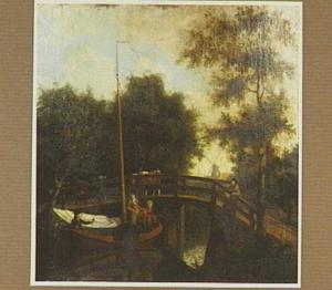 Jacht met hengelaars bij een brug