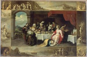 Maria Magdalena wast Christus voeten in het huis van Simon de Farizeër, omringd door scènes uit het leven van de heilige