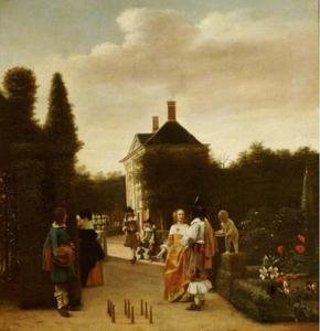 Kegelaars in een tuin bij een landhuis