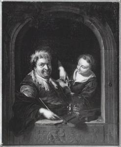 Vioolspeler en schenkster in een vensteropening