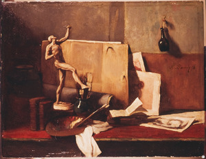 Stilleven van schildersuitrusting
