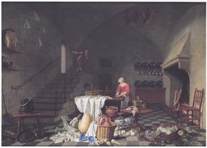 Keukeninterieur met een meid die vlees bereidt aan een tafel en een man die over de trapleuning hangt, op de voorgrond een keukenstilleven
