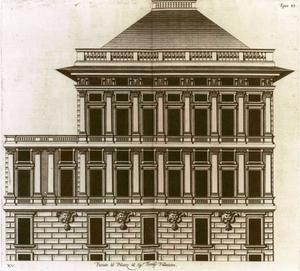 Palazzo dell' Acquedotto de Ferrari Galliera: Plan van de gevel