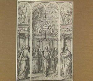 De verrezen Christus verschijnt aan de apostelen (Johannes 20:19-30) (ontwerp voor een kerkraam)