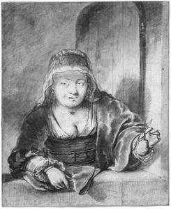 Vrouw met peer in een venster