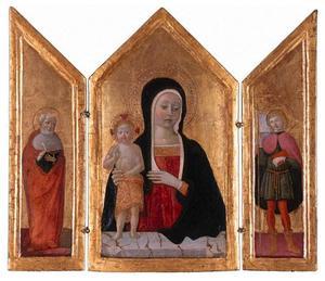 H. Hiëronymus (binnenzijde linkerluik), Maria met kind (middenpaneel), onbekende jonge heilige (binnenzijde rechterluik)
