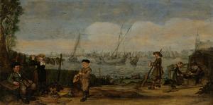 Vissers en Jagers in een landschap