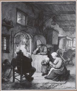 Vier figuren in een interieur met weefgetouw