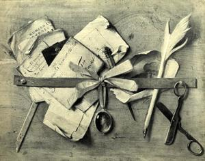 Trompe-l'oeil stilleven van een brievenbord
