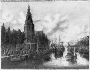 Inscheping van soldaten bij de Montelbaanstoren te Amsterdam