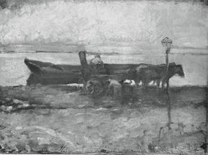 Moored barge with horses