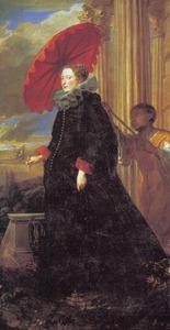 Portret van Marchesa Elena Grimaldi (?-?), echtgenote van Giacomo Cattaneo, met een bediende