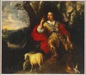 Portret van een man als herder; een luitspelende vrouw in de achtergrond