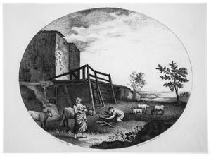 Boerderij met zogende vrouw en sprokkelende man