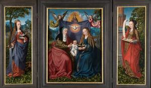 De H. Catharina (links), Anna-te-Drieën (midden), de H. Barbara (rechts)