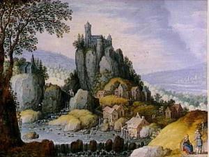 Weids rivierlandschap met een kasteel op een rots