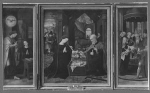 De annunciatie (links), de geboorte (midden), de presentatie (rechts)