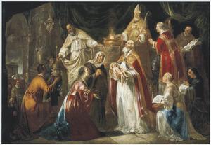De opdracht in de tempel, Simeon zingt de hymne 'Nunc Dimittis'