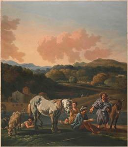Landschap met vee en figuren