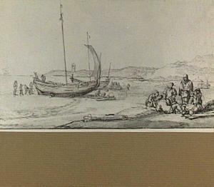 Schepen en figuren op een strand
