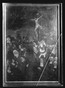 De kruisiging met een stichterspaar en hun kinderen