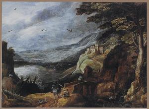 Panoramisch berglandschap met een ruiter, die een bedelaar een aalmoes geeft
