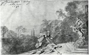 De zelfmoord van Thisbe bij het lichaam van Pyramus