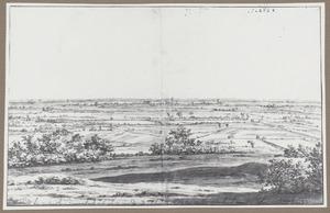 Panoramalandschap met in de verte een gezicht op Emmerich