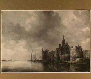 Riviergezicht met fortificaties en een kerk aan de rechteroever