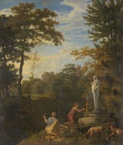 Arcadisch landschap met herders voor een standbeeld