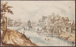 Gezicht in een stad gelegen op de oevers van een rivier