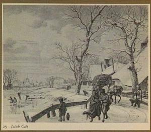 Winterlandschap met figuren en bebouwing