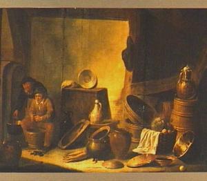 Interieur met keukengerei en boerenpaar dat mosselen bereidt