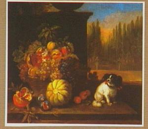 Vruchtenstilleven met een hondje in een parklandschap