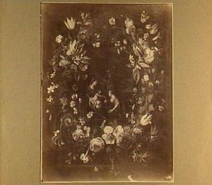 Bloemenkrans rond een voorstelling van het mystieke huwelijk van de H. Catharina van Alexandrië
