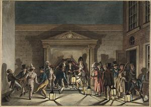 Het L.J. Costerfeest van het Haarlems genootschap Democriet gevierd op de binnenplaats van Teylers Museum, 23 sept. 1823