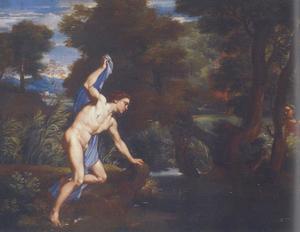 Narcissus wordt verliefd op zichzelf; de nimf  Echo bespiedt hem
