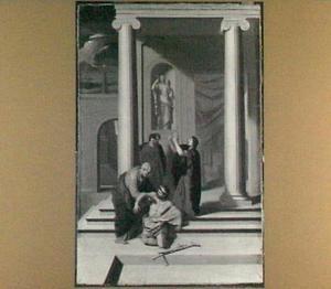 Petrus en Johannes genezen de verlamde bij de Schone Poort (Handelingen 3:6-7)