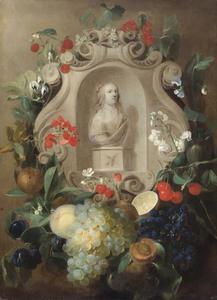 Portretbuste van een jonge vrouw in een krans van vruchten en bloemen