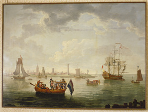 Gezicht op Oostende met pleziervaartuig en Oostenrijkse schepen