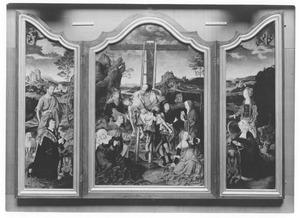 De Heilige Johannes de Doper met stichter (links), de kruisafneming (midden), de Heilige Margaretha met stichtster (rechts)