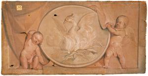 Twee putti met de beeltenis van een phoenix
