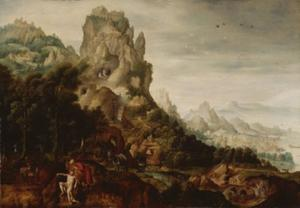 Berglandschap met  de barmhartige Samaritaan, die de gewonde reiziger verzorgt  (Lucas 10:25-37)