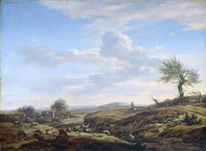 Heuvelachtig landschap met ruiter; op de voorgrond rustende herders met vee