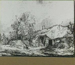 Landschap met boerderijen en figuren
