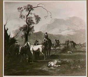 Landschap met soldaten na een veldslag