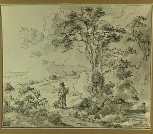 Heuvellandschap met man en hond